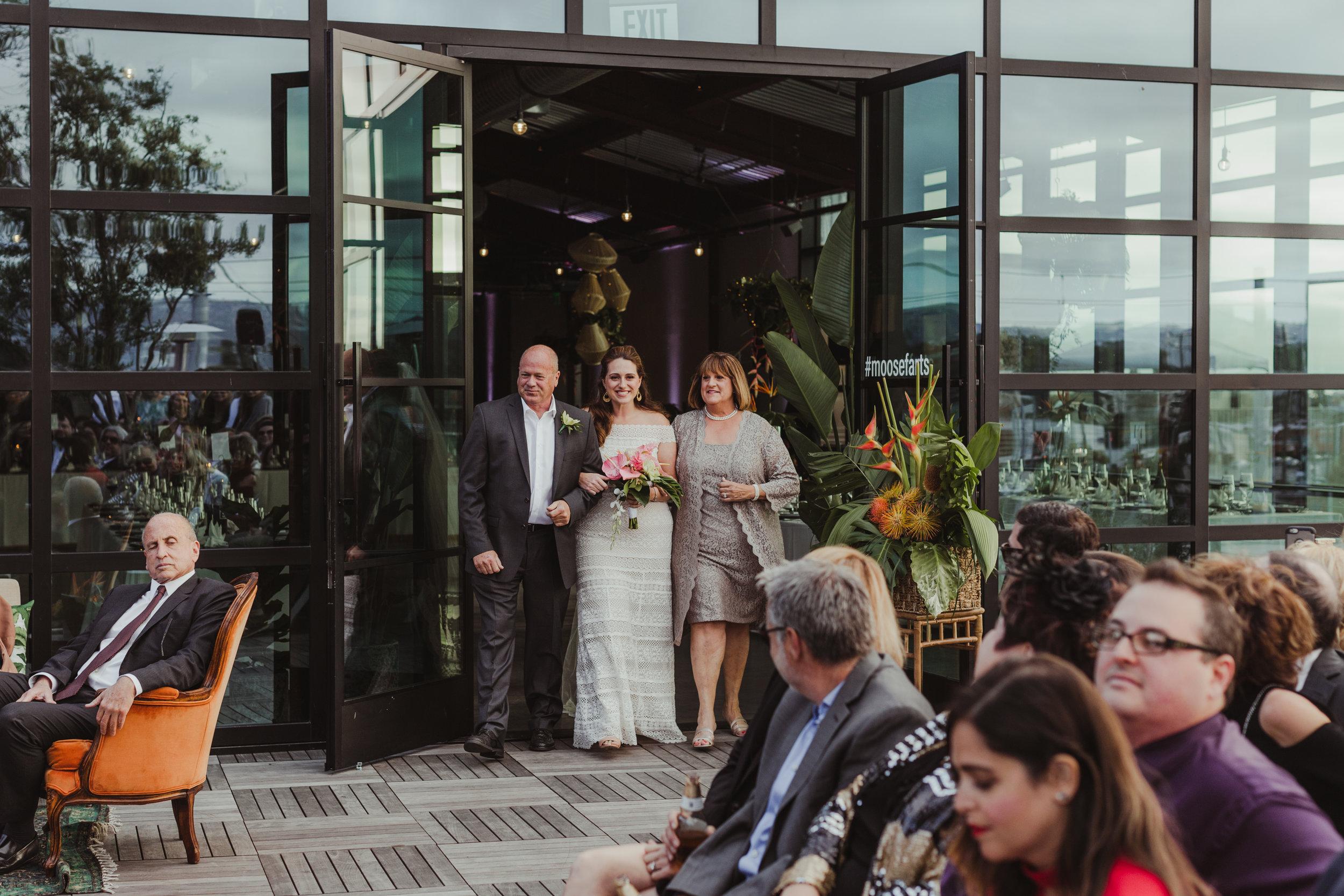 Bride's Processional at Margot Los Angeles, Photographer:  Hannah Costello , Floral Design: Bello Petalo