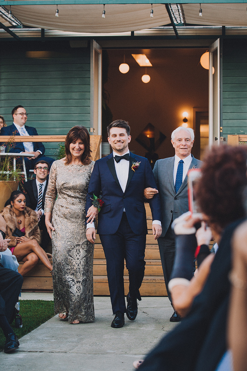 Groom's Processional at The Ruby Street venue, in Los Angeles, California, Photographer:  Mandee Johnson