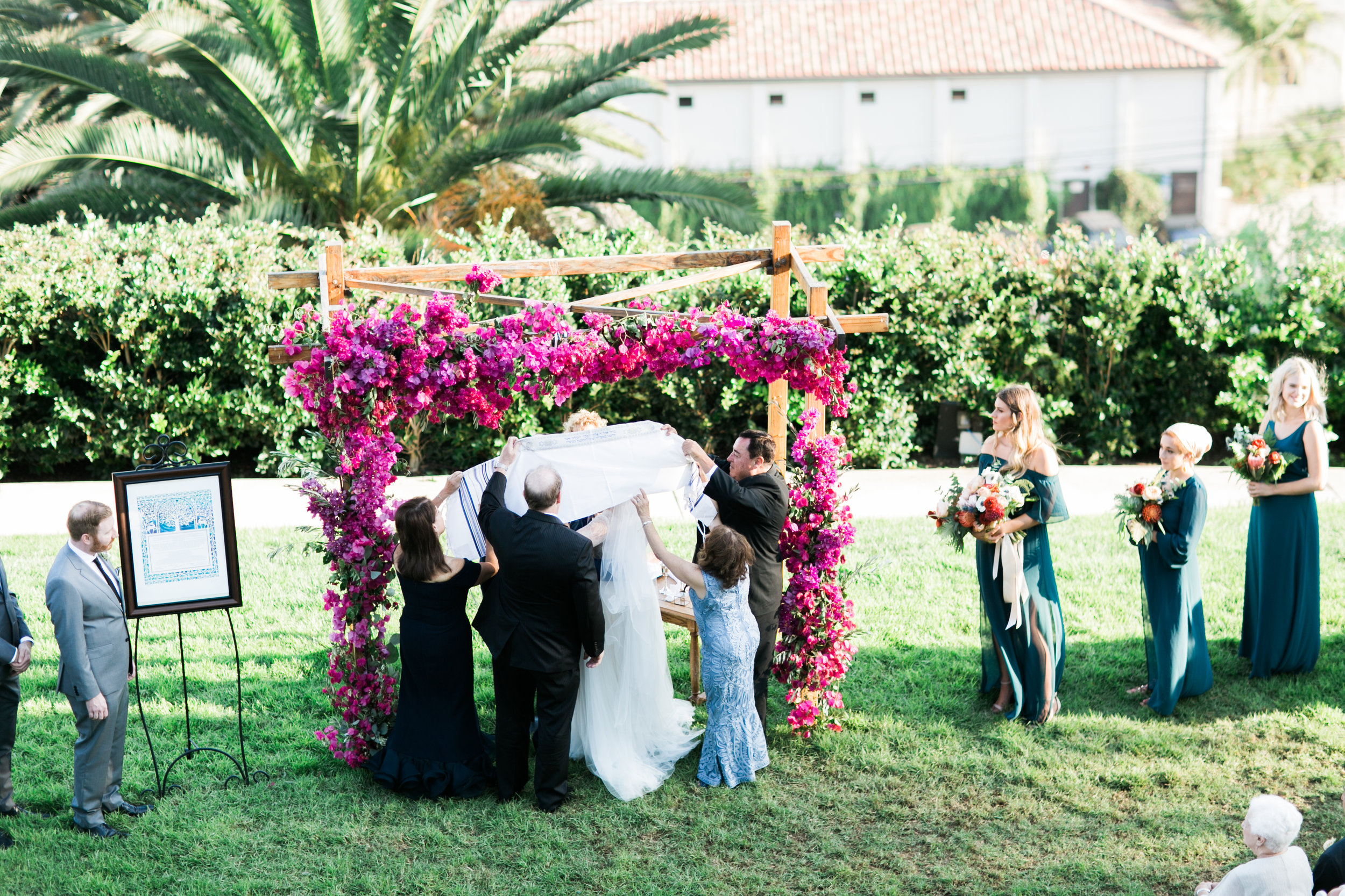 Priestly Blessing  Jewish Wedding Ceremony at Bel Air Bay Club, Photographer:  Laura Ford
