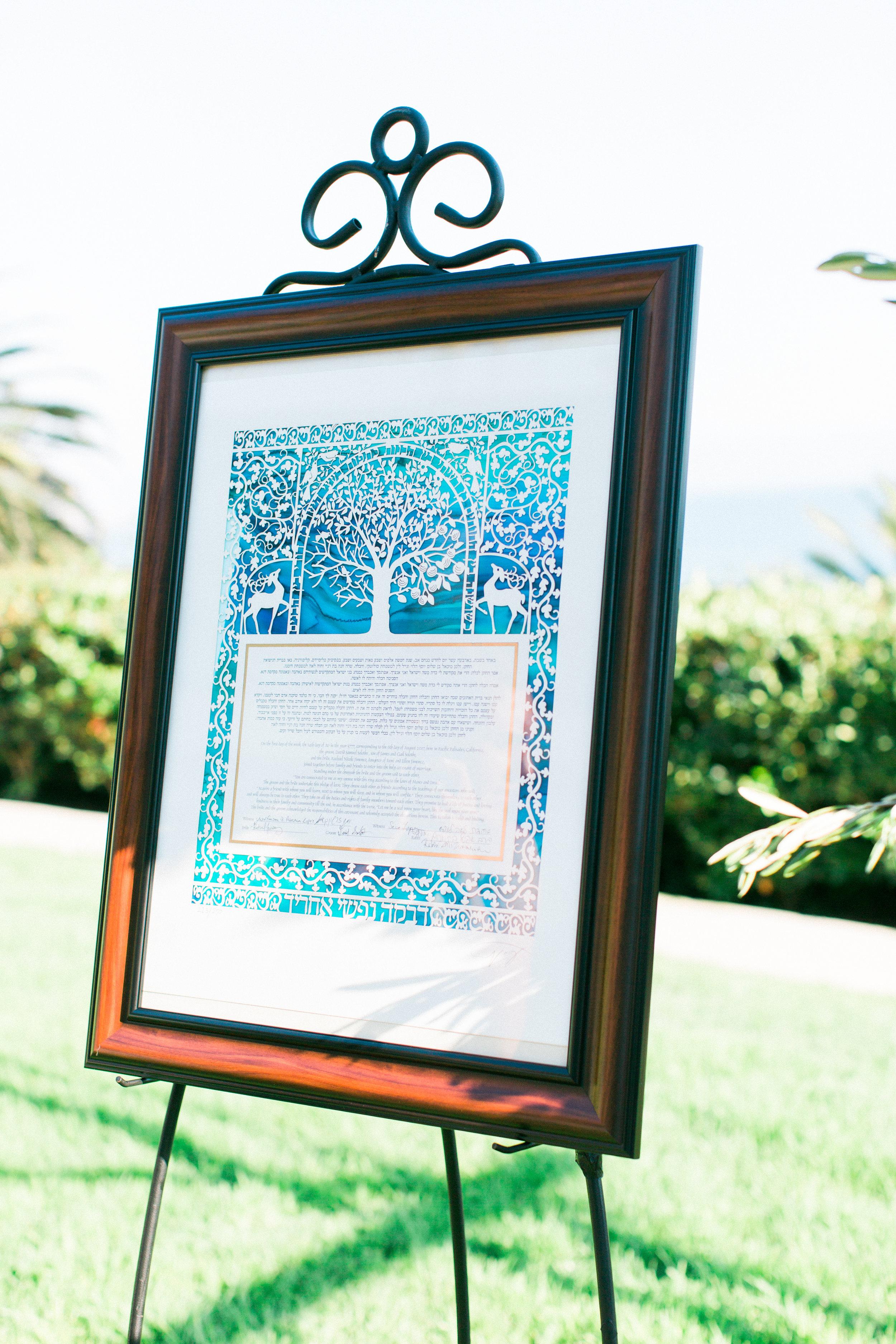 Ketubah , Jewish Wedding Ceremony at Bel Air Bay Club, Photographer:  Laura Ford