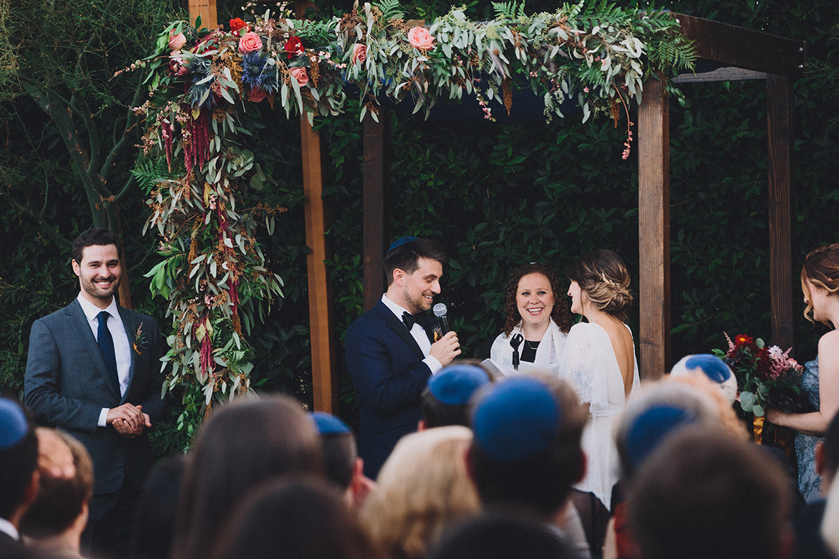 Modern Jewish Wedding Ceremony , Ruby Street, Los Angeles, California. Photographer:  Mandee Johnson , Florals: Hello Honey Flower Co.