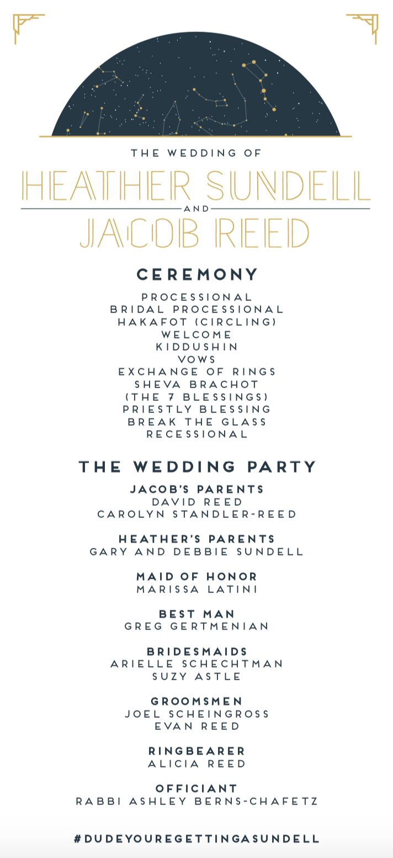 Modern   Jewish Wedding Ceremony Program  designed by the groom, Jacob Reed