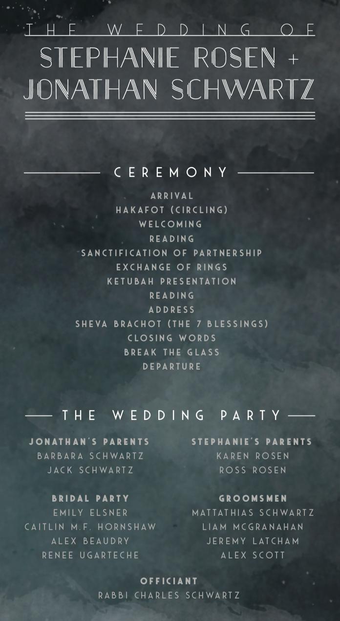 Moody Modern  Jewish Wedding Ceremony Program  designed by Boldhouse Creative