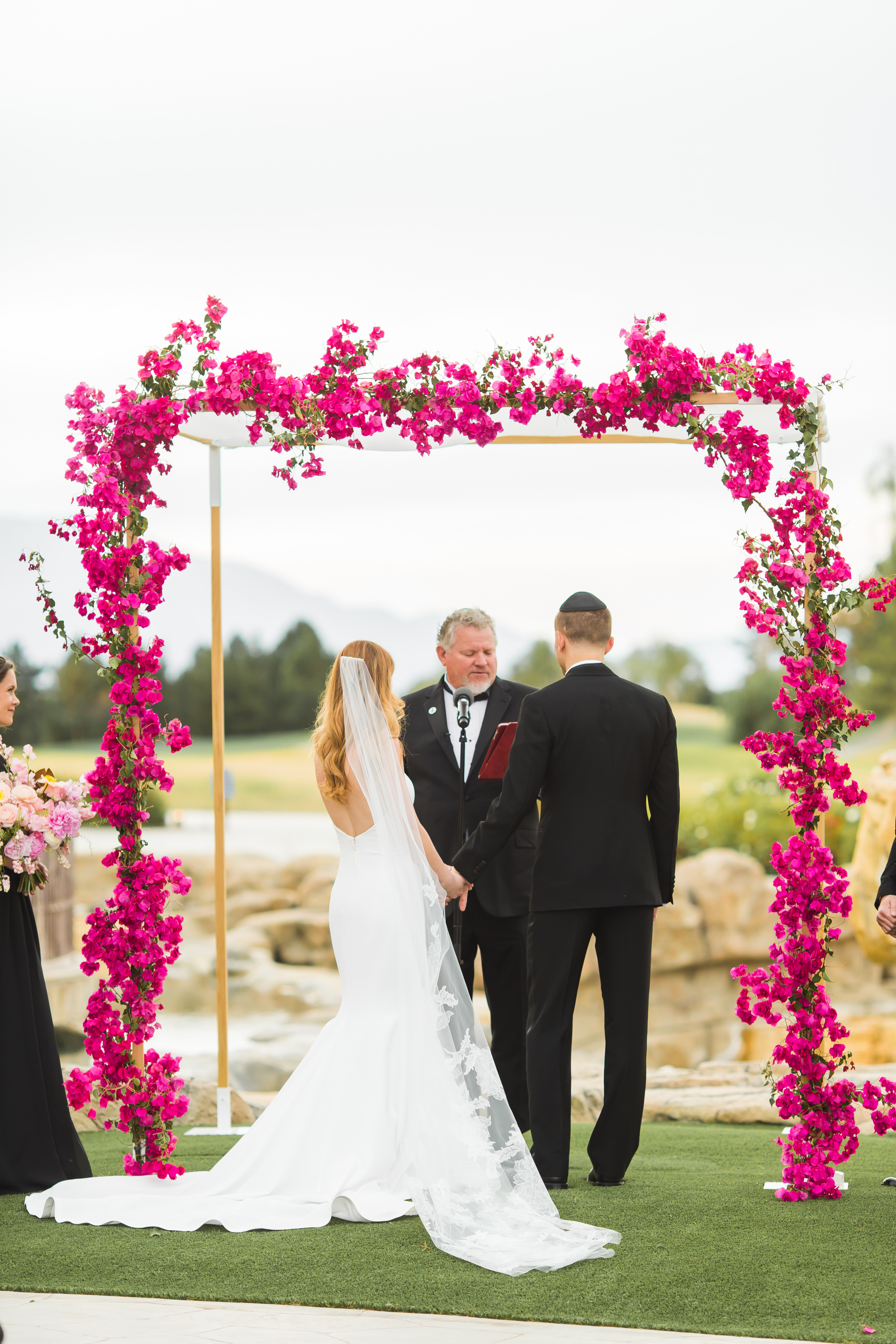 Modern Chuppah at The Classic Club, Photographer:  Katie Geiberger , Floral Design: Of the Flowers