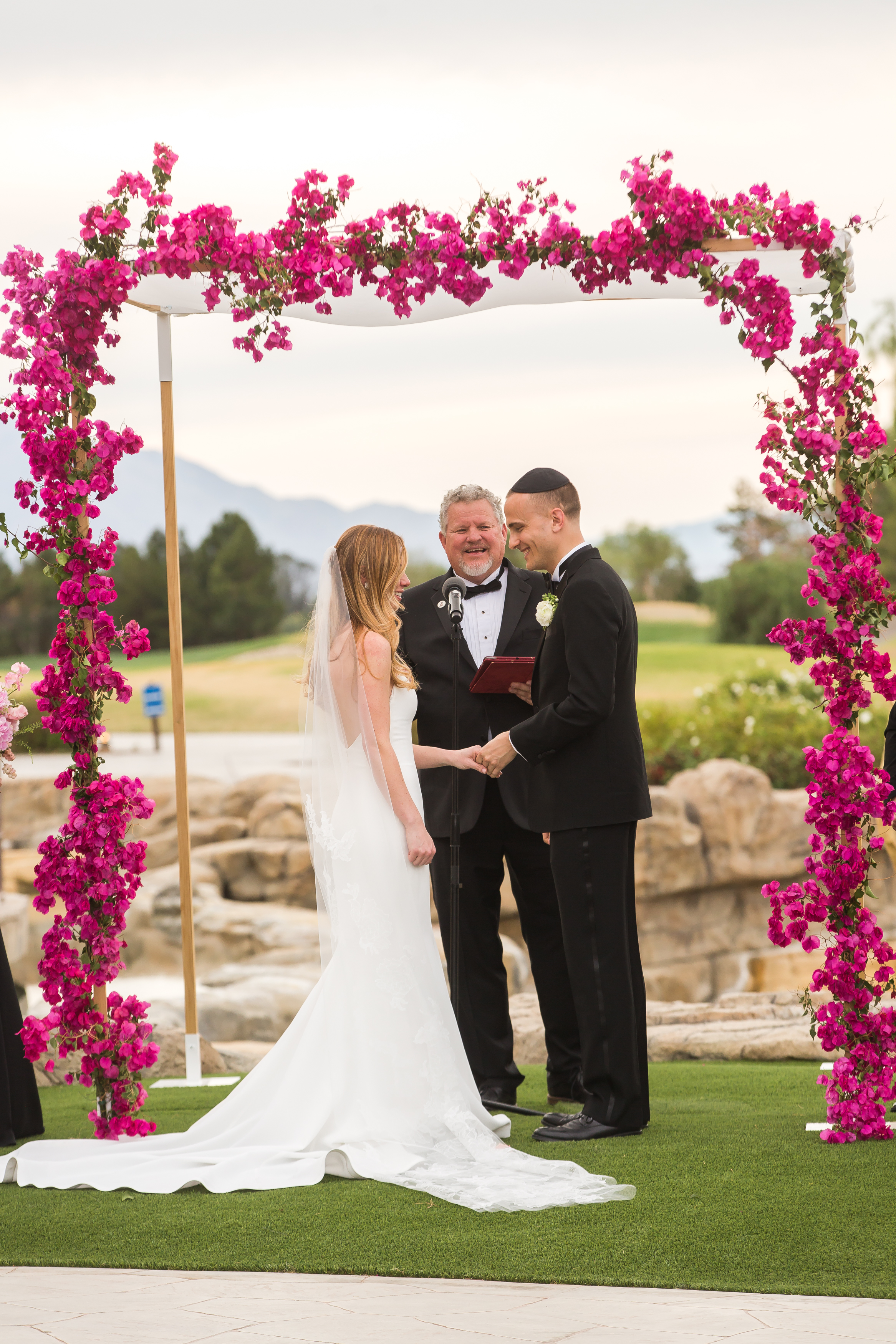 Bougainvillea Chuppah,  Jewish Wedding Ceremony, Photographer:  Katie Geiberger,  Floral:  Of The Flowers