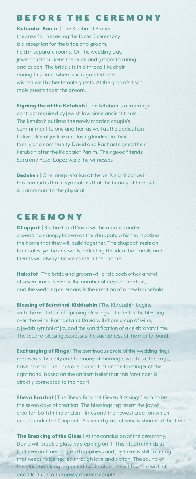 Jewish Wedding Ceremony Program   Outline  designed by Boldhouse Creative