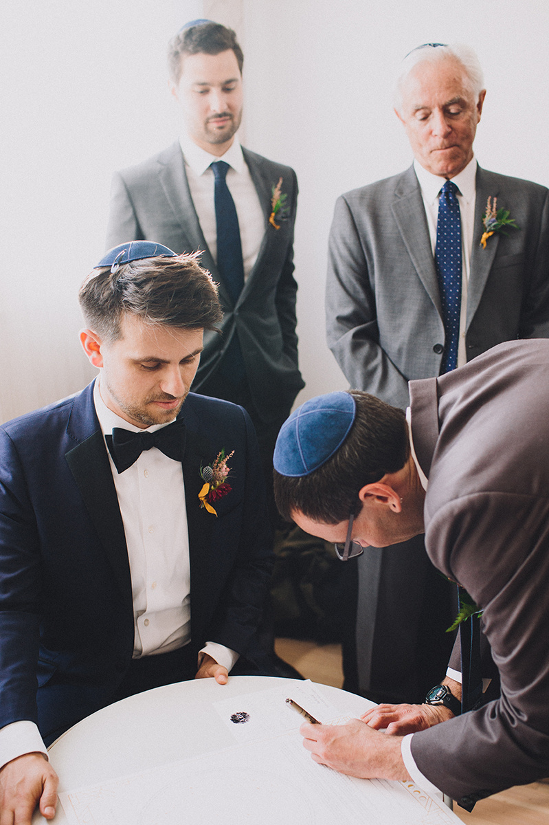 Ketubah signing  at the Ruby Street in Los Angeles, CA. Photographer:  Mandee Johnson