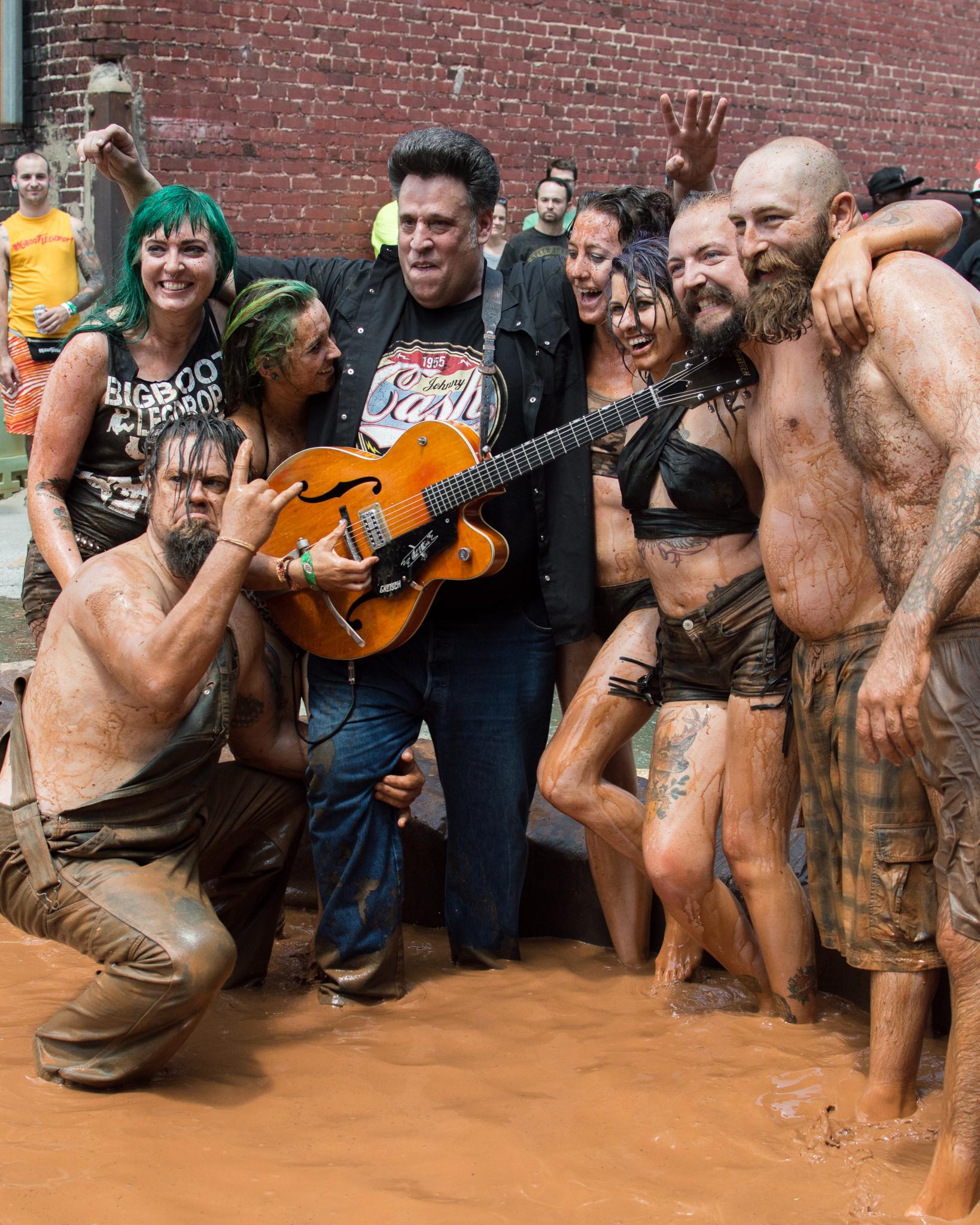 Mud wrestling at Heavy Rebel Weekender