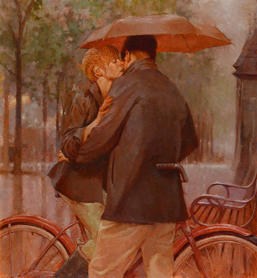 Kisses in the Rain 24x26 - SOLD