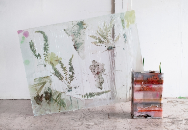 Herbarium Specimens––An Intersection, 2012, Glass, wax, mirror,  resin, cactus, fern, 61 x 43 1/2 x 8 1/2 inches