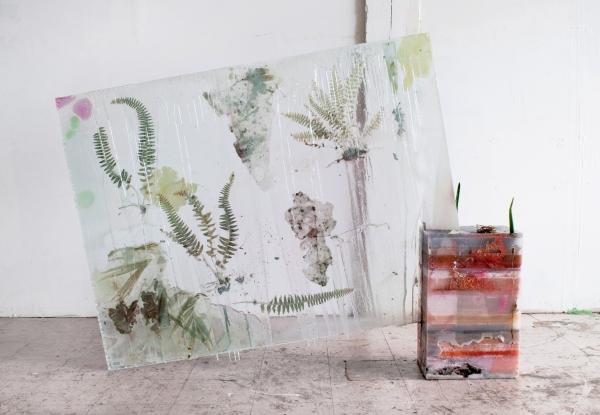 Herbarium Specimens––An Intersection, 2012, Glass, wax, mirror, resin, cactus, fern, 61 x 43 1/2 x 8 1/2 inches