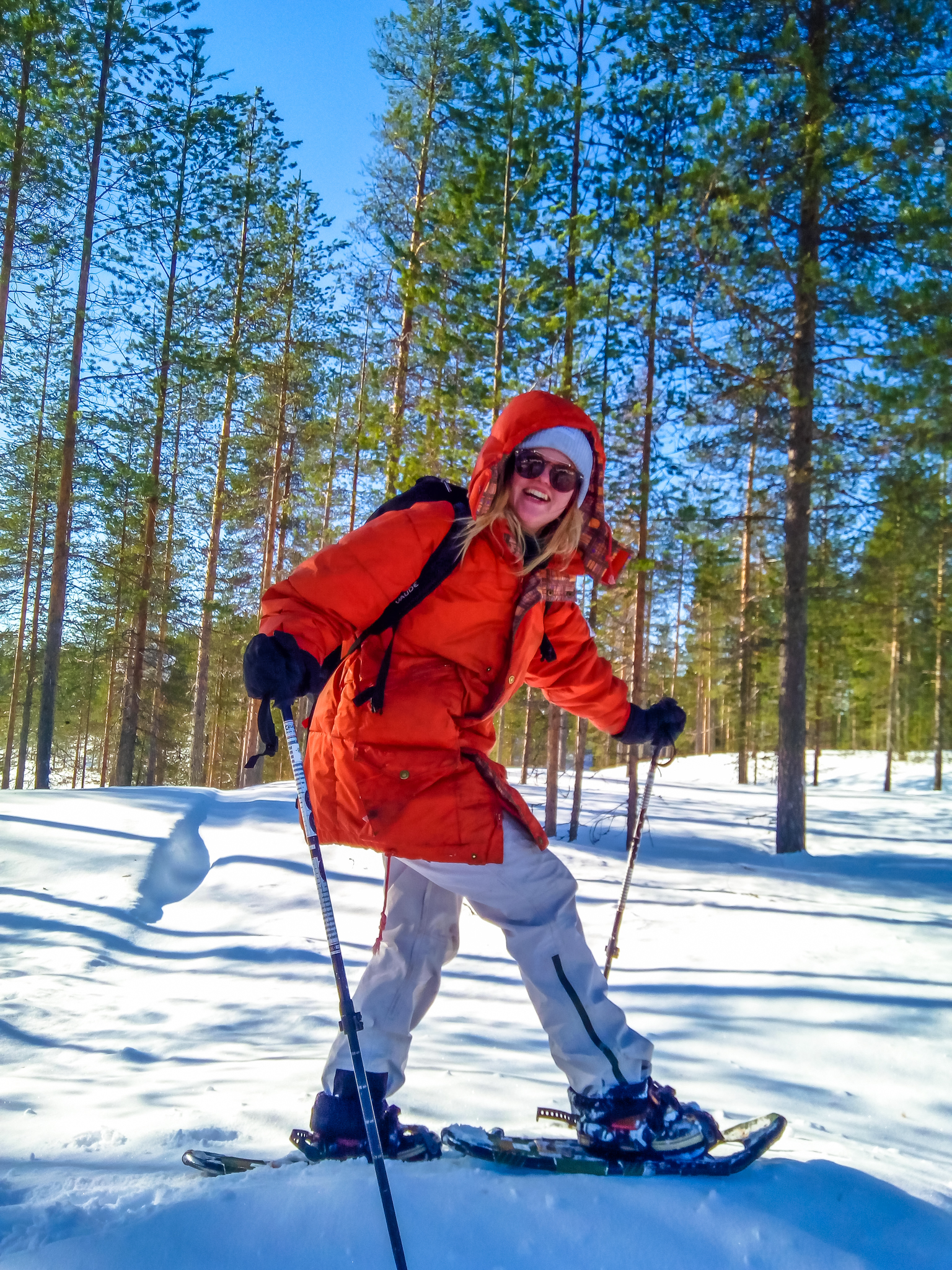 Snowshoeing fun in the forest