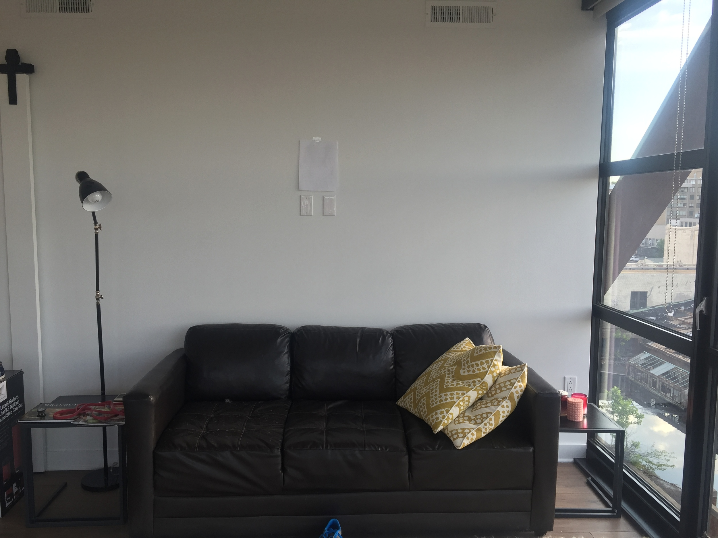 CORRECT - Shows the furniture, picture taken straight on, paper taped to wall.