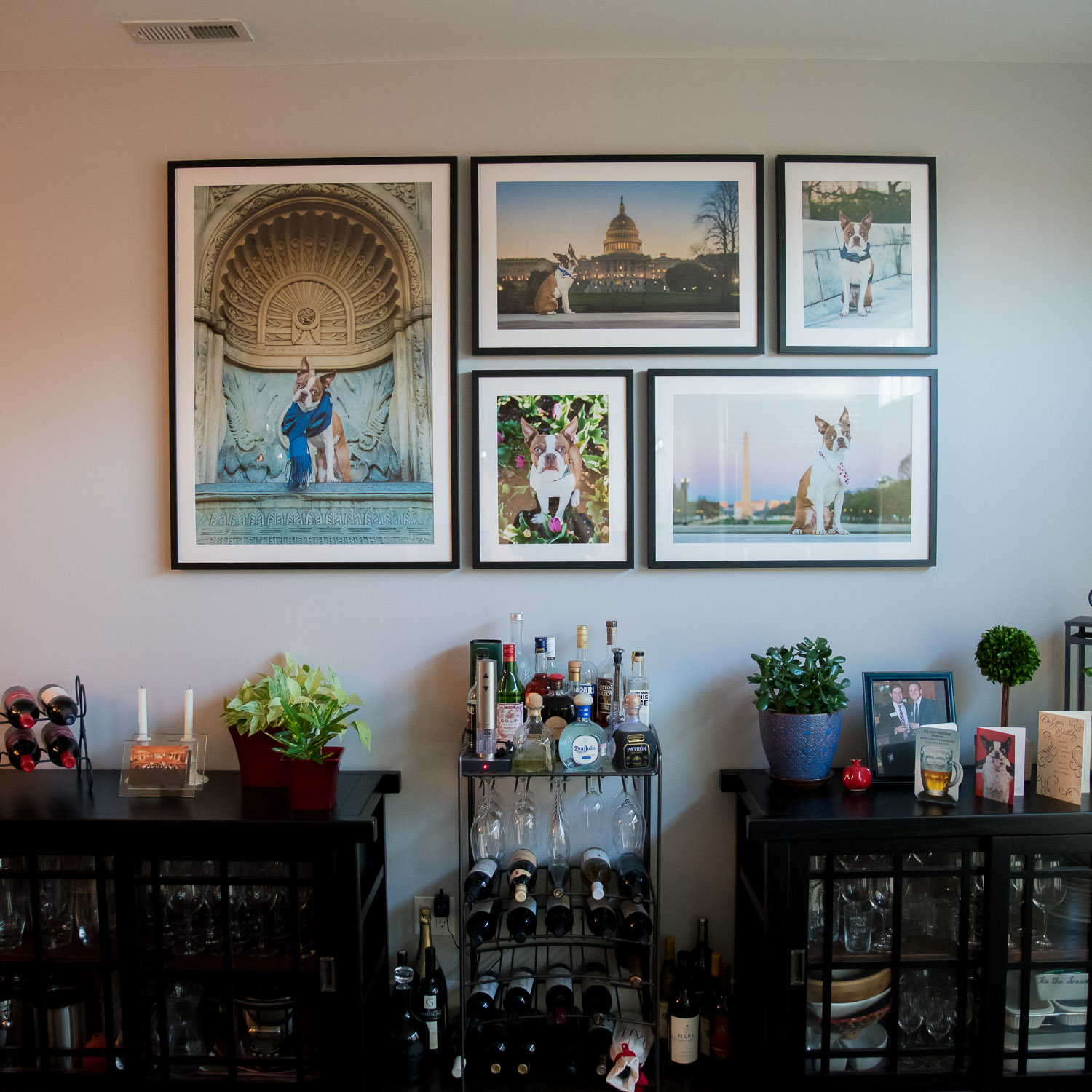 The final images printed and framed on the wall