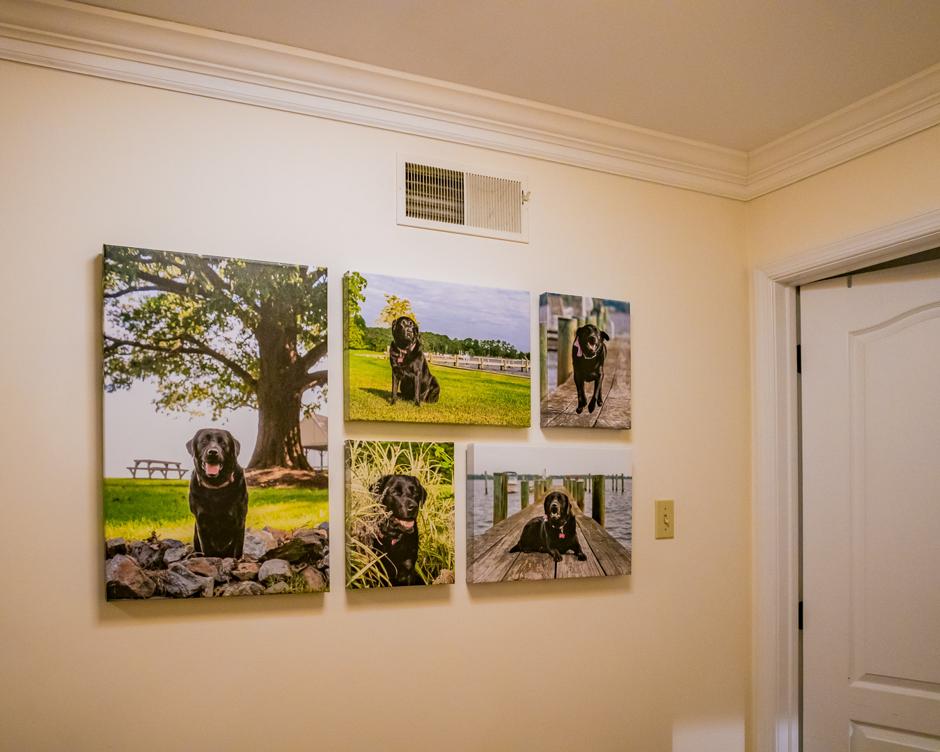 At the ordering appointment our photographer worked with the client to design an amazing wall gallery of canvas prints.
