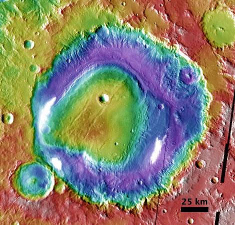 Colorized elevation data (Mars Orbiter Laser Altimeter) over daytime temperature map (Thermal Emission Imaging System) of Henry Crater on Mars.
