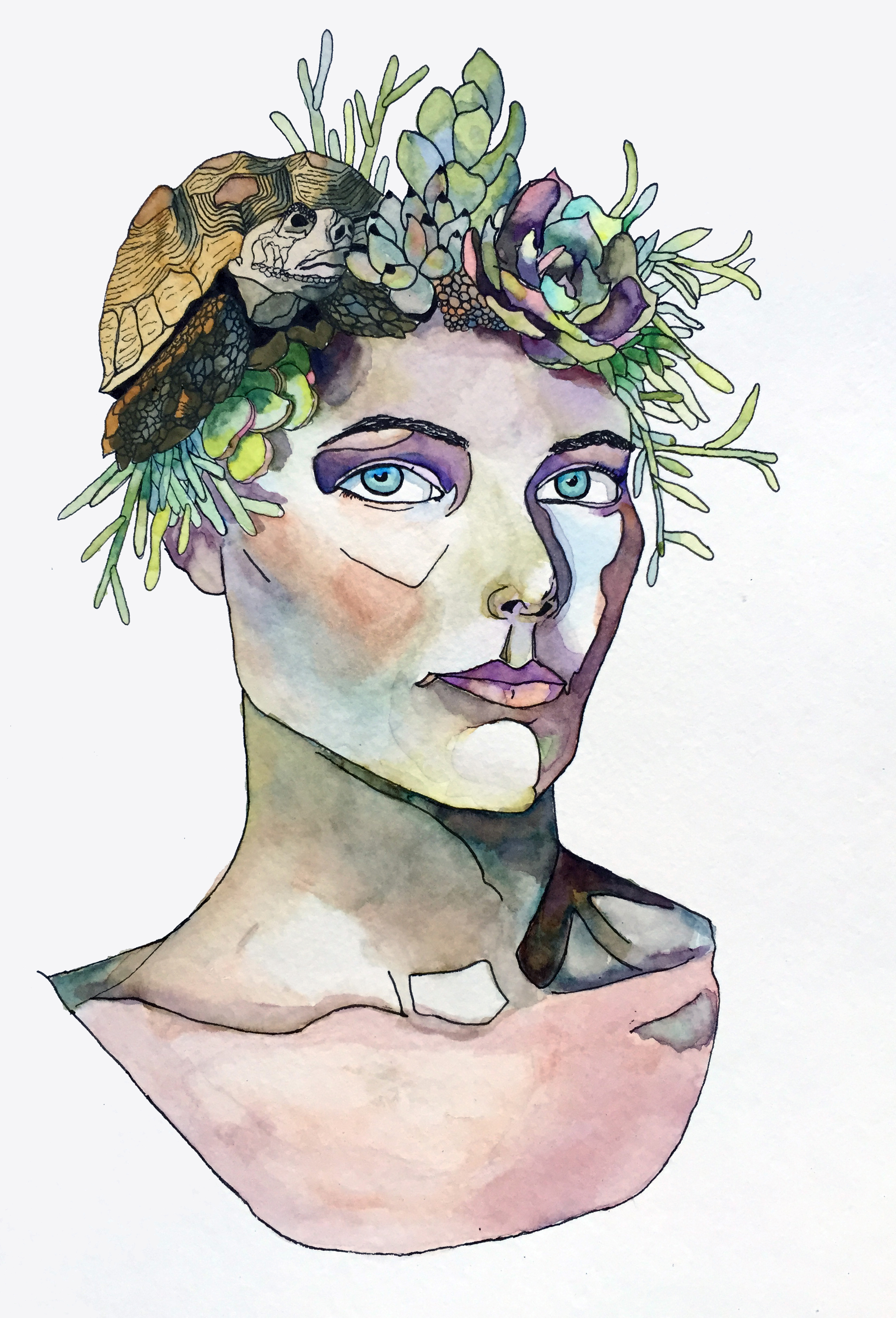 2015.06.01.The Tortoise and the Hair.watercolor. woman head.jpg