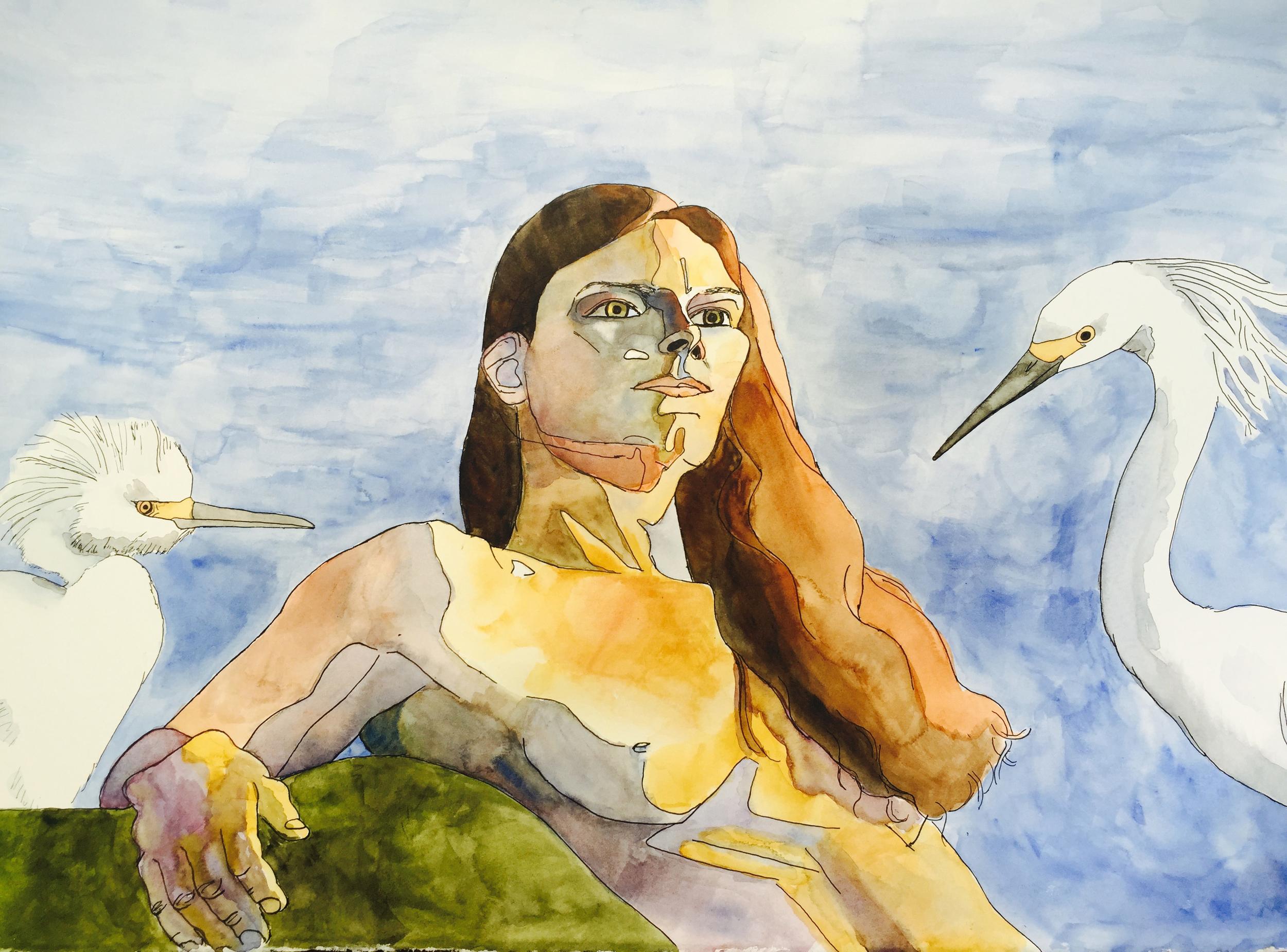 2015.07.11.The Egret Queen.watercolor. woman.jpg