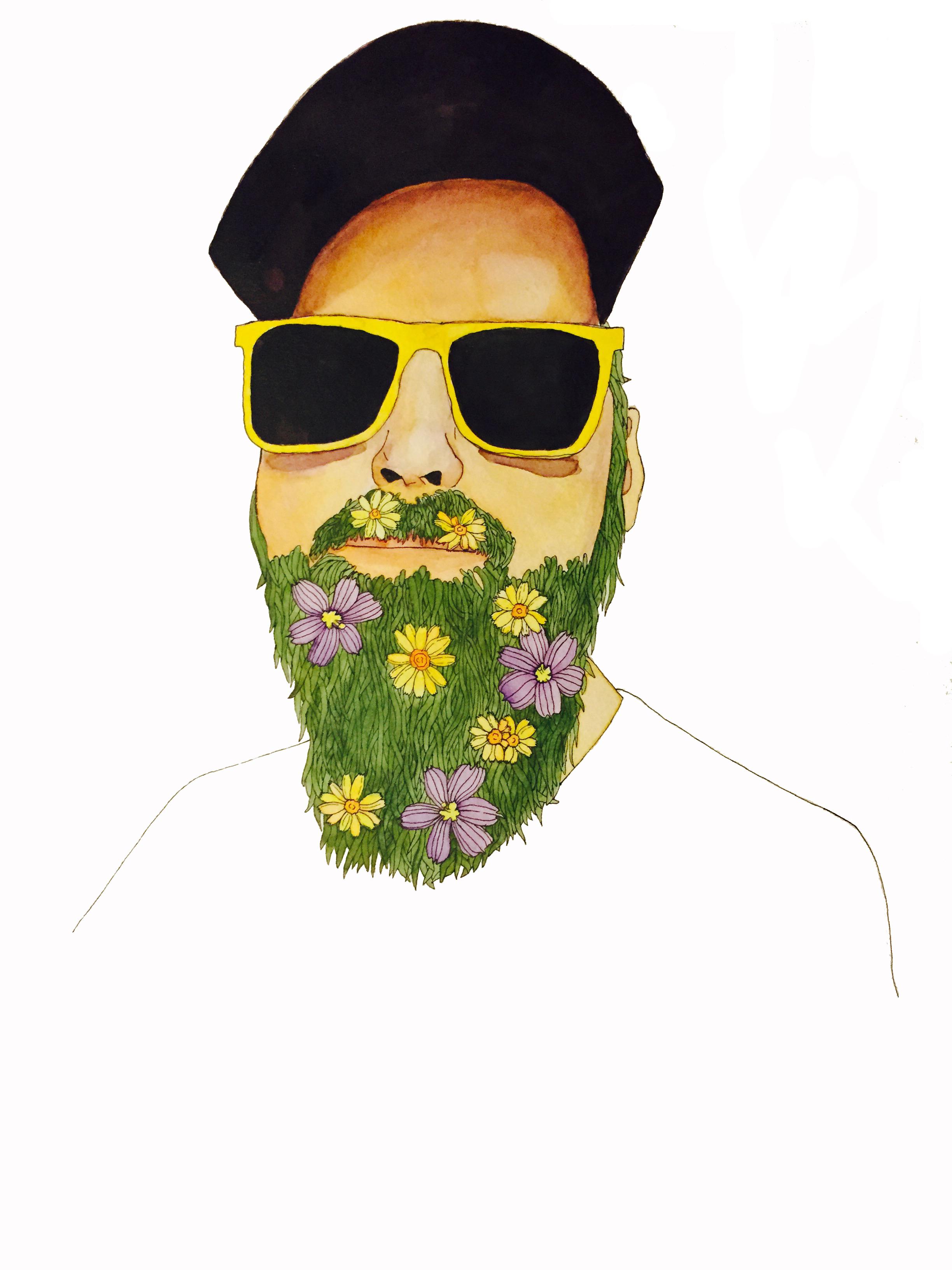 2015.09.15 Austin Native.Flowers in His Beard.watercolor.ink.jpg
