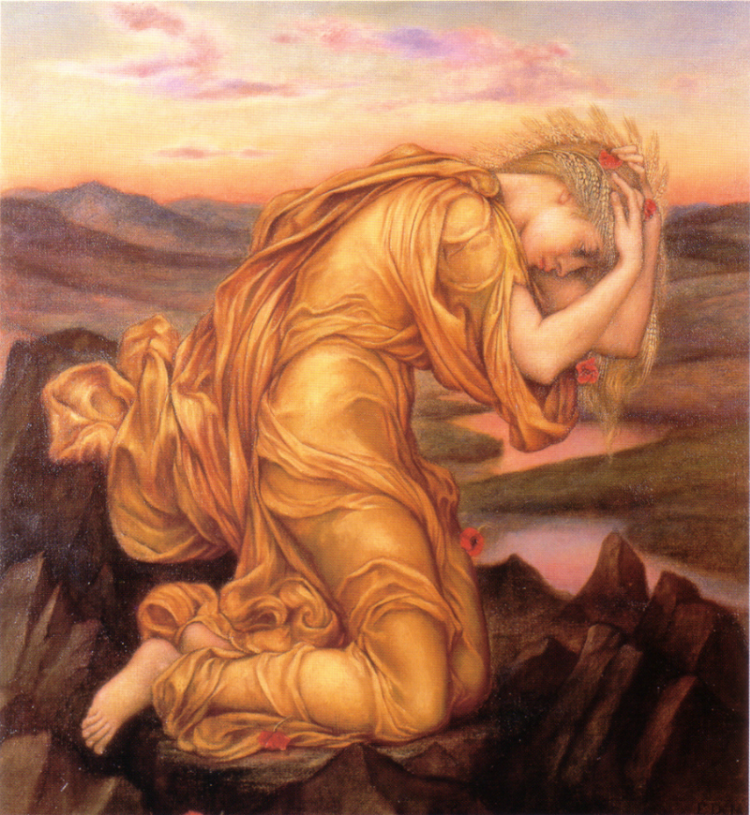 Demeter Mourning Persephone   by Evelyn De Morgan 1906 [Public domain], via Wikimedia Commons