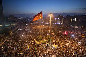 Demonstrators in   Taksim Square  , 2013.