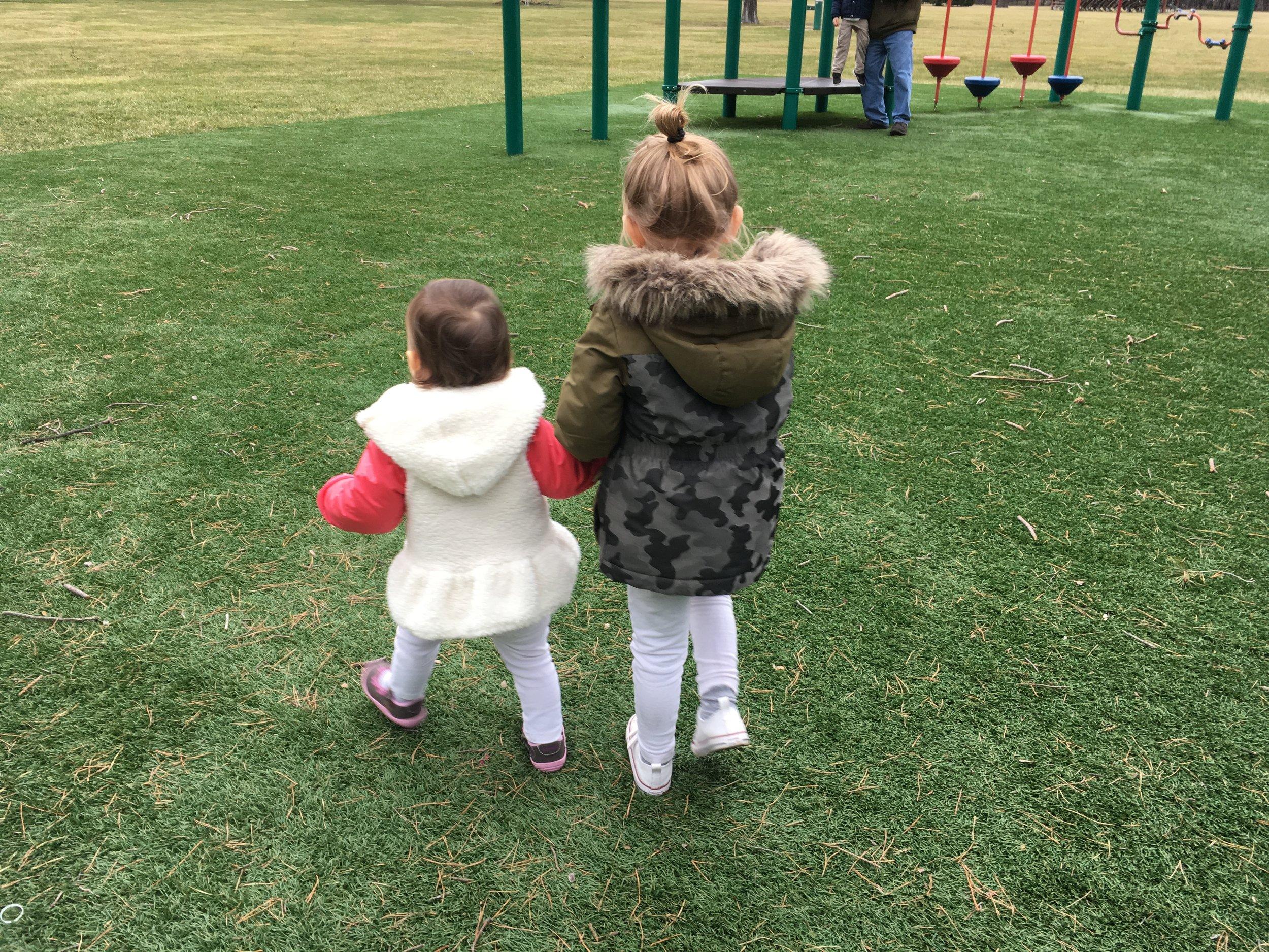 Michelle's kids walking