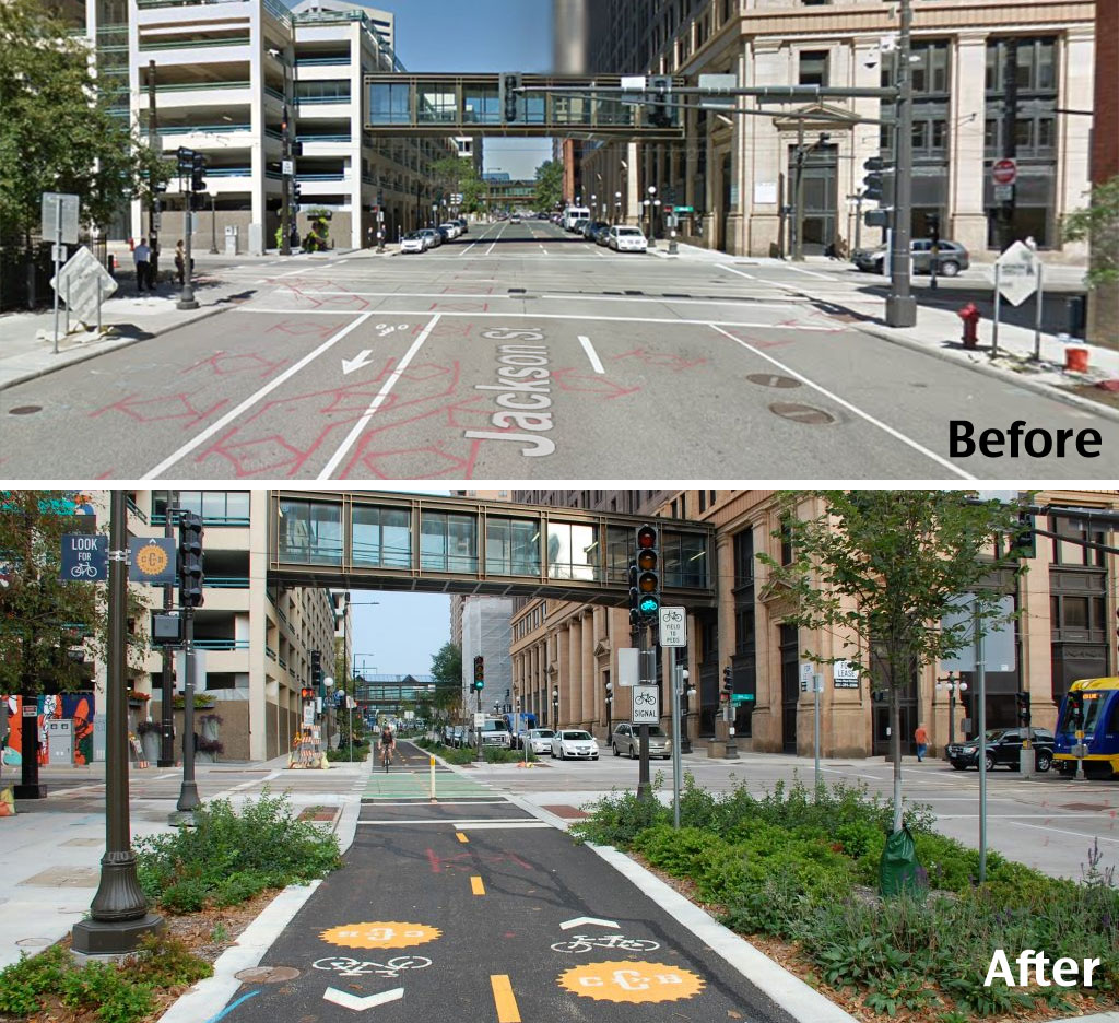 Jackson Street Before and After from  Streetsblog USA