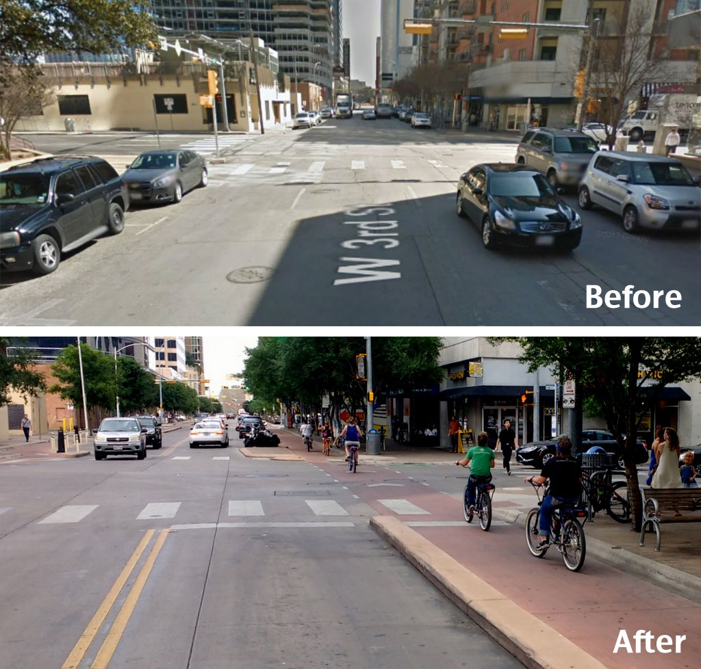 3rd Street Before and After from  Streetsblog USA