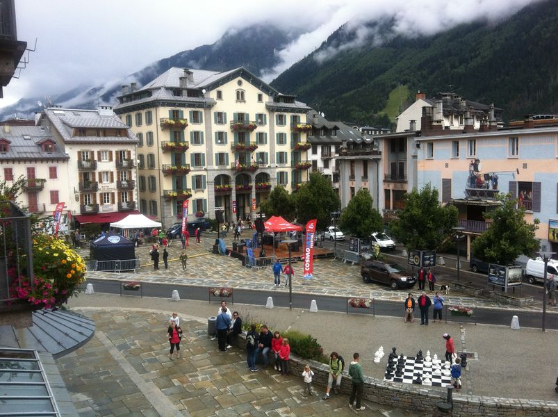 Chamonix, France, gives vehicles and bikes a way through without slicing up the space into lanes.