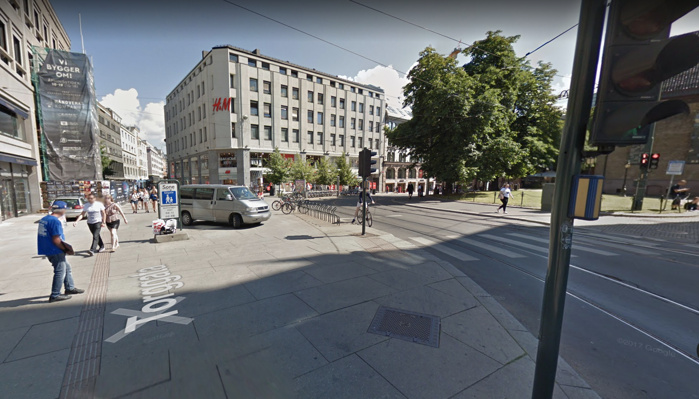 This intersection in downtown Oslo accommodates pedestrians, bikes, trams, buses and cars. The intersection was simplified by pedestrianizing one street, making another one way, and as a result maximizing pedestrian space. In effect it feels less like an intersection and more like a narrow asphalt street (though wide by Oslo standards).