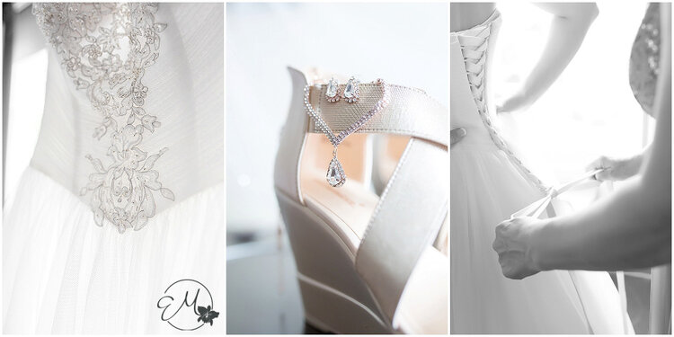 I loved that Gabby picked out champagne wedges and rose gold jewelry to her gorgeous dress!