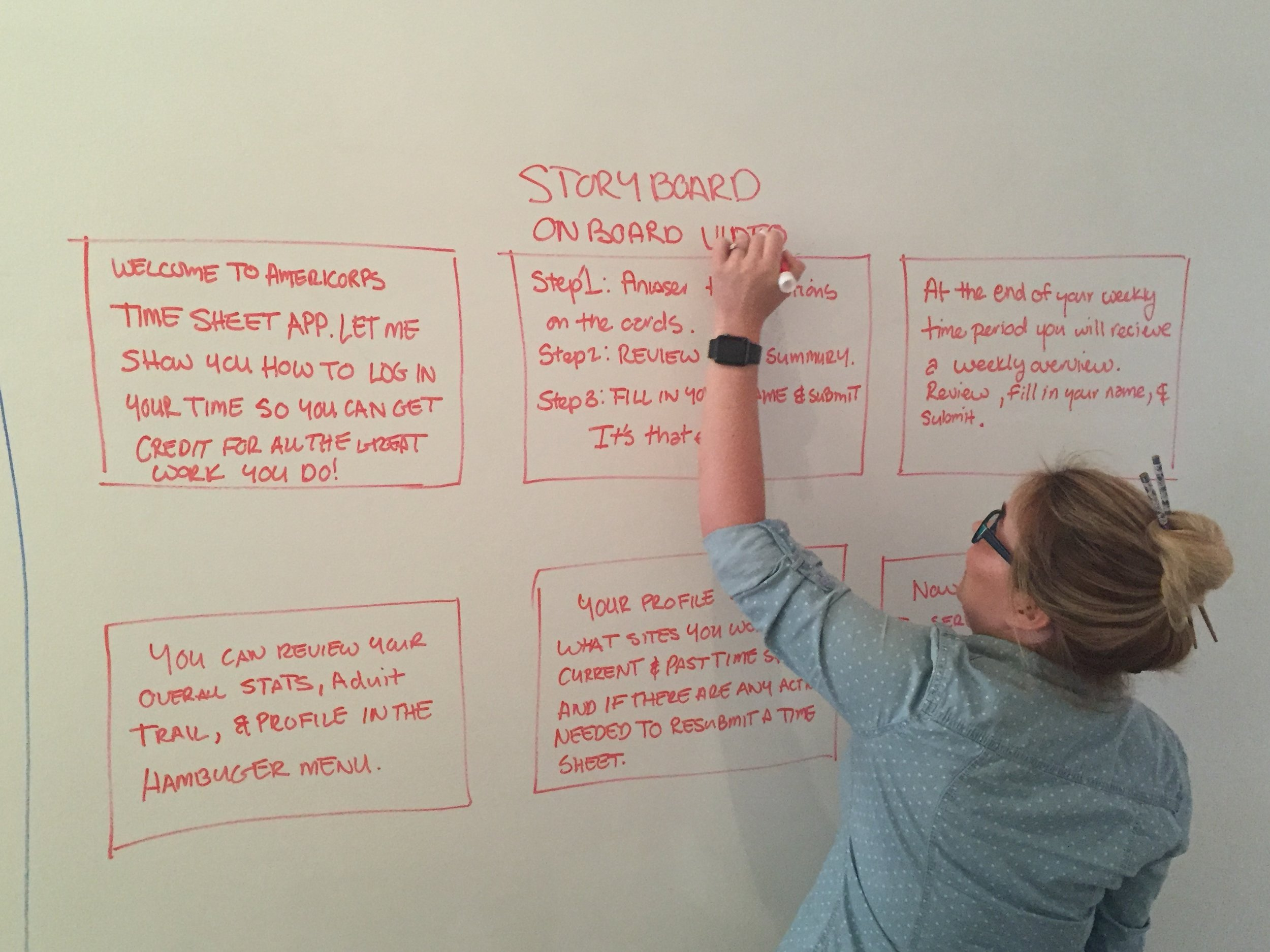 Creating a storyboard to show how to On Board the User.