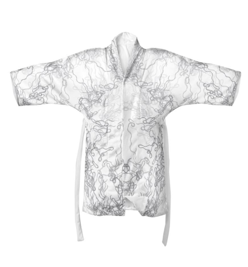 Black and White Symmetrical Silk Kimono