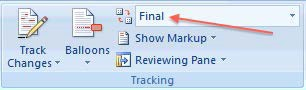 Track Changes in PC version of Word