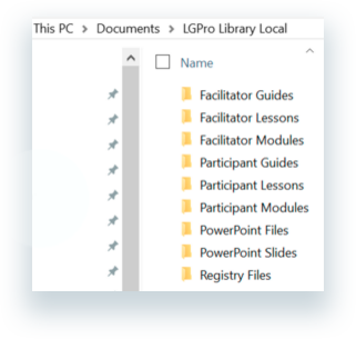 The folders contained within the LGPro Library Local