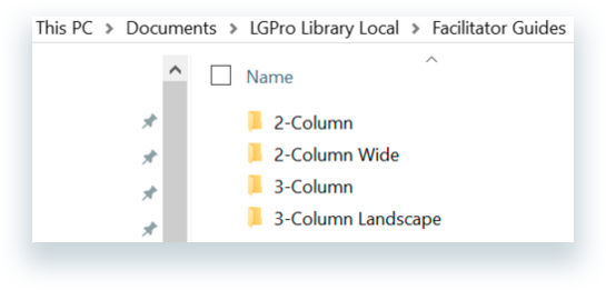 The sub-folders contained within the Facilitator Guide folder