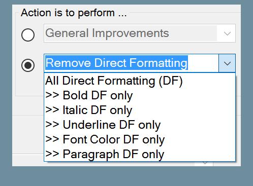 Remove Direct Formatting drop down menus options