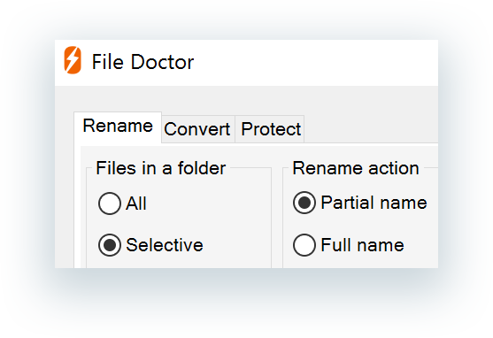 File Doctor dialog box tabs