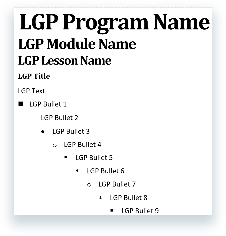 Examples of LGP styles