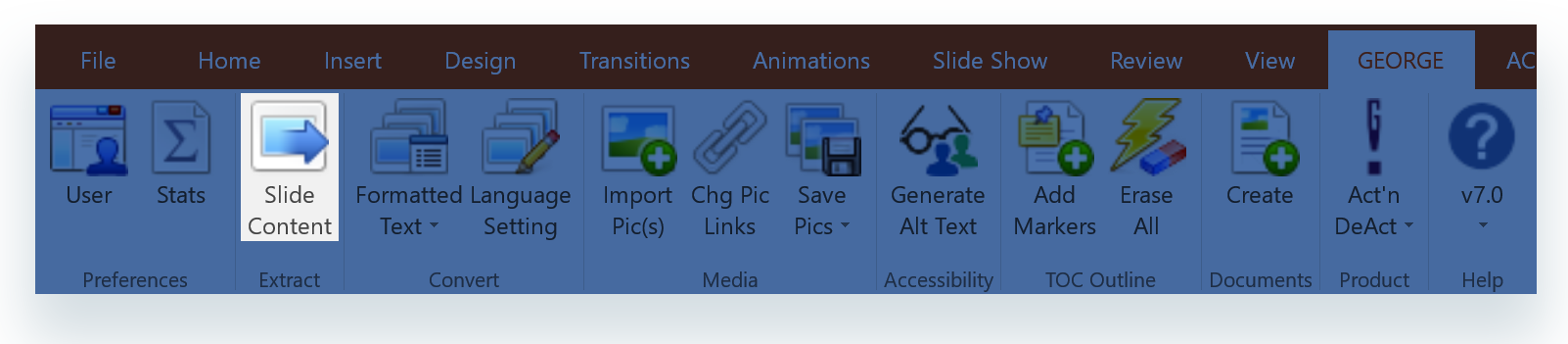 Extract Slide Content button on  george!  ribbon