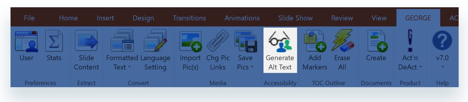 Generate Alt Text  button on  george!  ribbon in PowerPoint