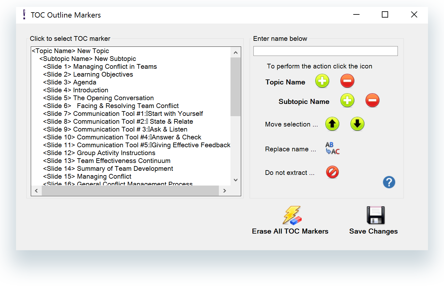Example of Add TOC Markers dialog box