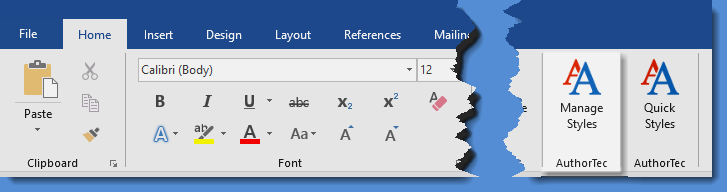 AuthorTec Manage Styles button on Home tab ribbon in Microsoft Word