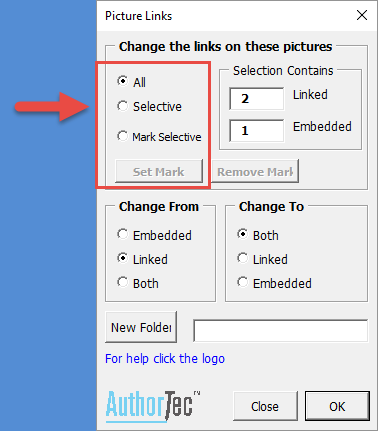 AuthorTec Change Picture Links Dialog box example