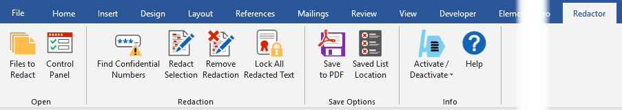 AuthorTec Redactor Ribbon in Microsoft Word