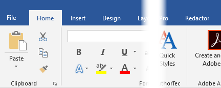 AuthorTec Redactor Ribbon Tab in Word