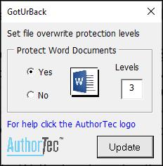 AuthorTec Got-Ur-Back User Preferences dialog box