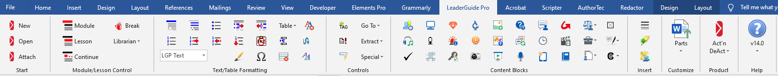 The LeaderGuide Pro v14 Ribbon in Word 2016. Click the the image to see a larger view.