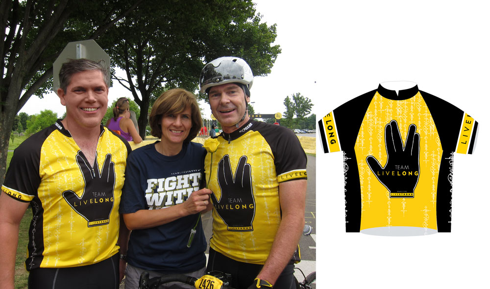 Team LiveLong jersey design for the LiveStrong Challenge Philly (2010, 2011, 2013)