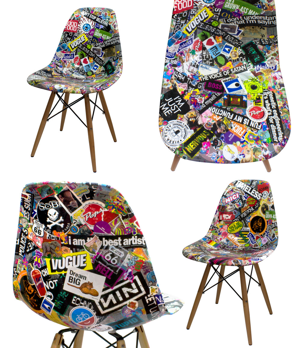 sticker collage on chairs (about 23 years of sticker collecting)